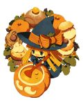 1girl bangs blonde_hair blue_dress blue_eyes blue_headwear blunt_bangs blush_stickers bow cauldron chibi cupcake dress food hat hat_bow holding holding_spoon jack-o'-lantern juliet_sleeves kokuzu long_hair long_sleeves lowres open_mouth orange_bow puffy_sleeves pumpkin puyopuyo smile solo spoon stirring transparent_background witch witch_(puyopuyo) witch_hat