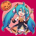 1girl :d ahoge artist_name bare_shoulders black_legwear blue_eyes blue_hair blush bow breasts bright_pupils candy candy_cane commentary cropped_legs dated dated_commentary detached_sleeves disconnected_mouth dress earrings english_commentary eyebrows_visible_through_hair fangs food hair_between_eyes hair_ribbon halloween hatsune_miku holding holding_candy_cane jack-o'-lantern jewelry long_hair looking_at_viewer multicolored multicolored_clothes multicolored_legwear nendoroid official_alternate_costume open_mouth orange_bow outline pink_background pumpkin ribbon signature small_breasts smile solo striped striped_legwear thigh-highs twintails umenodo very_long_hair vocaloid white_legwear white_outline zettai_ryouiki