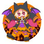 1girl animal_ears animal_hood bangs black_footwear black_jacket blonde_hair bow candy candy_wrapper cape commentary_request demon_tail demon_wings eyebrows_visible_through_hair fake_animal_ears food full_body hair_between_eyes highres hood hood_up hooded_jacket jacket kemomimi-chan_(naga_u) lollipop long_hair long_sleeves looking_at_viewer naga_u open_clothes open_jacket open_mouth orange_skirt original pantyhose pink_cape pleated_skirt purple_bow purple_shirt purple_wings red_eyes shirt shoes skirt sleeves_past_fingers sleeves_past_wrists solo striped striped_legwear swirl_lollipop tail tail_bow v-shaped_eyebrows wavy_mouth wings