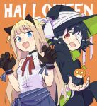 2girls :d aki_poi animal_ears bandage_over_one_eye bandaged_arm bandages bare_shoulders black_gloves black_hair black_headwear black_robe blonde_hair blue_eyes blue_skirt breasts brown_background cat_ears claw_pose collared_shirt commentary_request fang gloves halloween hands_up hat long_hair long_sleeves multiple_girls open_mouth original paw_gloves paws pleated_skirt red_eyes robe shirt simple_background skirt sleeveless sleeveless_shirt small_breasts smile very_long_hair white_shirt wide_sleeves witch_hat