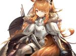 1girl absurdres arknights armor blemishine_(arknights) breastplate brown_hair commentary_request highres long_hair looking_at_viewer one_eye_closed pauldrons red_eyes river_(river15221728798) shoulder_armor simple_background solo white_background
