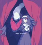 1girl bangs black_hair clothing_request commentary_request curtains darkrai dawn_(pokemon) eyebrows_visible_through_hair eyelashes gen_4_pokemon gloves grey_eyes hair_ornament hairclip hands_together happy_halloween highres interlocked_fingers komasawa_(fmn-ppp) light_smile long_hair long_sleeves mythical_pokemon pokemon pokemon_(creature) pokemon_(game) pokemon_dppt white_gloves
