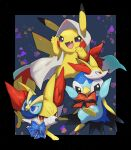 aqua_eyes arm_ribbon character_mask closed_mouth commentary fang fennekin gen_1_pokemon gen_4_pokemon gen_6_pokemon hands_up highres looking_at_viewer mask no_humans nullma open_mouth pikachu piplup pokemon pokemon_(creature) red_ribbon ribbon tongue violet_eyes