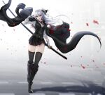 1girl armband armband_removed bangs belt black_coat black_footwear black_legwear black_ribbon black_vest boots breasts buckle coat coat_on_shoulders denpa_(denpae29) earrings eyebrows_visible_through_hair floating_hair full_body gloves hair_between_eyes hair_ribbon highres holding holding_sword holding_weapon jewelry knee_boots long_hair long_sleeves looking_at_viewer military military_uniform necktie ootachi open_mouth original petals pleated_skirt red_neckwear ribbon shirt skindentation skirt smile solo sword thigh-highs thighs uniform vest walking weapon white_hair white_shirt wind wind_lift zipper