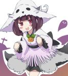 1girl :p absurdres bangs blunt_bangs blush_stickers brown_hair commentary cowboy_shot cross dress ghost ghost_pose halloween halloween_costume hat headgear highres jewelry necklace obi pelt pumpkin red_eyes sash short_hair silhouette solo tongue tongue_out touhoku_kiritan voiceroid white_background white_dress white_headwear zerueru11