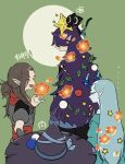 4boys absurdres black_cat blue_menouu blush brown_hair cat christmas christmas_ornaments christmas_tree fengxi_(the_legend_of_luoxiaohei) flower green_background grey_hair highres leaf long_hair long_sleeves luoxiaohei luozhu_(the_legend_of_luoxiaohei) multiple_boys open_mouth pointy_ears profile purple_hair short_sleeves smile star_(symbol) the_legend_of_luo_xiaohei xuhuai_(the_legend_of_luoxiaohei)