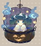1girl ahoge argyle argyle_background bucket commentary_request green_eyes green_hair hair_bobbles hair_ornament highres hitodama in_bucket in_container jack-o'-lantern japanese_clothes kimono kisume looking_at_viewer nikorashi-ka polka_dot polka_dot_background short_hair sleeves_past_fingers sleeves_past_wrists solo star_(symbol) touhou triangular_headpiece two_side_up upper_body white_kimono