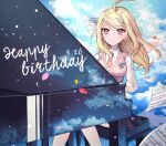 1girl ahoge akamatsu_kaede bangs beamed_eighth_notes beamed_sixteenth_notes blonde_hair blush breasts closed_mouth clouds commentary_request dalrye_v3 danganronpa dated day eighth_note eyebrows_visible_through_hair feet_out_of_frame floating_hair hair_ornament happy_birthday highres instrument long_hair long_sleeves looking_at_viewer medium_breasts music musical_note musical_note_hair_ornament necktie new_danganronpa_v3 orange_neckwear paper piano pink_eyes playing_instrument pleated_skirt print_skirt quarter_note reflection repost_notice school_uniform sheet_music shirt sitting skirt sky smile solo sweater_vest twitter_username violet_eyes white_shirt