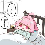 1girl ahoge bangs bed blue_hair can censored chibi empty_eyes eyebrows_visible_through_hair fang head_on_pillow idolmaster idolmaster_cinderella_girls indoors long_sleeves lying mosaic_censoring multicolored_hair on_back on_bed open_mouth pajamas pink_eyes pink_hair shiny shiny_hair short_hair solo takato_kurosuke two-tone_hair under_covers yumemi_riamu