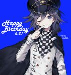 1boy ;) bangs black_cape black_hair black_headwear blue_background cape checkered checkered_scarf commentary_request dalrye_v3 danganronpa dated finger_to_mouth hair_between_eyes happy_birthday hat head_tilt jacket long_sleeves looking_at_viewer male_focus new_danganronpa_v3 one_eye_closed ouma_kokichi peaked_cap purple_hair repost_notice scarf short_hair simple_background smile solo straitjacket twitter_username upper_body violet_eyes white_jacket