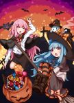 absurdres bangs basket bat black_capelet black_headwear black_skirt blue_hair blunt_bangs boots broom broom_riding candy candy_cane capelet chocolate chocolate_bar closed_eyes commentary cross fang food ghost halloween halloween_costume highres jack-o'-lantern kannagoto kotonoha_akane kotonoha_aoi large_hat lollipop miniskirt open_mouth pink_hair red_eyes shirt silhouette skirt star_(symbol) striped striped_legwear thigh-highs voiceroid white_shirt witch witch_costume