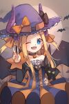 1girl ;d abigail_williams_(fate/grand_order) bangs black_bow black_cat blonde_hair blue_eyes blush bow breasts cat choker cosplay dress elizabeth_bathory_(fate)_(all) elizabeth_bathory_(halloween_caster)_(fate) elizabeth_bathory_(halloween_caster)_(fate)_(cosplay) fate/grand_order fate_(series) forehead halloween_costume hat highres horns long_hair looking_at_viewer miya_(miyaruta) one_eye_closed open_mouth orange_bow parted_bangs sidelocks small_breasts smile solo two_side_up v witch_hat