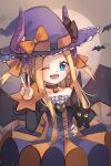 1girl abigail_williams_(fate/grand_order) bangs black_bow black_cat blonde_hair blue_eyes blush bow breasts cat choker cosplay dress elizabeth_bathory_(fate)_(all) elizabeth_bathory_(halloween_caster)_(fate) elizabeth_bathory_(halloween_caster)_(fate)_(cosplay) fate/grand_order fate_(series) forehead halloween_costume hat highres horns long_hair looking_at_viewer miya_(miyaruta) one_eye_closed open_mouth orange_bow parted_bangs sidelocks small_breasts smile two_side_up witch_hat