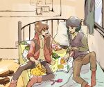 2boys bag_of_chips bed blue_eyes blue_hair boots brown_hair can candy curtains food green_eyes gundam gundam_zz holding holding_magazine indoors jacket judau_ashta kamille_bidan magazine multiple_boys on_bed pillow short_hair sitting sitting_on_bed smile soda_can ume-bayashi zeta_gundam