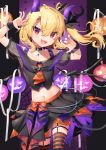 1girl :d ahoge alternate_costume bat_ornament black_bow black_skirt blonde_hair bow chain choker claw_pose collarbone commentary_request cowboy_shot cravat crop_top cross dated fangs flandre_scarlet gradient gunjou_row hair_between_eyes hair_bow highres horns inverted_cross jack-o'-lantern looking_at_viewer midriff multicolored multicolored_nails navel no_hat no_headwear o-ring o-ring_choker off-shoulder_shirt off_shoulder one_side_up open_mouth orange_neckwear orange_skirt red_eyes see-through_sleeves shirt short_hair side_ponytail signature silk skirt slit_pupils smile solo spider_web standing striped striped_legwear thigh-highs touhou v-shaped_eyebrows wrist_cuffs