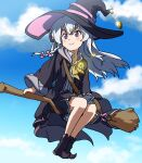 1girl arumei_(arumeisakufan) blush boots broom broom_riding elaina_(majo_no_tabitabi) halloween_costume highres lace-trimmed_headwear lace_trim majo_no_tabitabi pentacle silver_hair skirt sky smile solo witch witch_costume