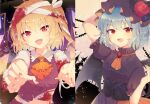 2girls absurdres aoi_(annbi) arm_behind_head arm_up bandaged_arm bandaged_head bandages bangs bat_wings blonde_hair blood bloody_bandages blush bow brooch column_lineup commentary corset cravat crystal dark_background dress fangs flandre_scarlet flower frilled_shirt_collar frills halloween halloween_costume hat hat_bow hat_flower highres huge_filesize jewelry looking_at_viewer midriff mob_cap multiple_girls nail_polish one_side_up open_mouth orange_neckwear outstretched_arms red_flower red_nails red_rose red_shirt remilia_scarlet rose shirt short_hair short_sleeves smile torn_clothes touhou underbust upper_body wings zombie_pose