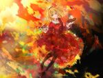 1girl aki_shizuha arms_at_sides art_brush autumn autumn_leaves blonde_hair closed_mouth collar collared_dress colorful commentary_request dress frilled_collar frilled_sleeves frills full_body hair_ornament hands_up highres holding holding_paintbrush leaf leaf_hair_ornament leaf_on_head loafers long_sleeves maple_leaf outstretched_hand paint paintbrush palette pantyhose red_dress shoes short_hair solo touhou uwazumi yellow_eyes