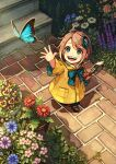 1girl ahoge akagi_shun amy_(kataude_no_emi) blush bow brown_hair bug butterfly buttons child flower from_above garden hair_ornament happy insect kataude_no_emi light_particles looking_up mary_janes open_mouth original plant potted_plant raincoat reaching_out shadow shoes short_hair shovel smile stairs