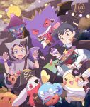 2boys ash_ketchum black_cape black_hair blue_eyes bracelet brown_eyes brown_hair candy cape claw_pose clenched_teeth commentary fangs food gen_1_pokemon gen_2_pokemon gen_8_pokemon gengar goh_(pokemon) halloween hand_up highres holding hood hood_up jack-o'-lantern jewelry male_focus mei_(maysroom) misdreavus mouth_hold multiple_boys open_mouth pikachu pokemon pokemon_(anime) pokemon_(creature) pokemon_swsh_(anime) raboot ribbon sobble teeth tongue