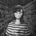 1girl bright_pupils convenience_store greyscale highres indoors looking_at_viewer mask monochrome mouth_mask original shirt shop short_hair solo striped striped_shirt surgical_mask sweat upper_body wataboku white_pupils