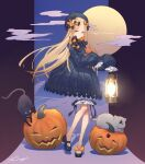 1girl abigail_williams_(fate/grand_order) black_cat black_dress black_ribbon blonde_hair blue_eyes cat clouds dress fate/grand_order fate_(series) grey_cat hair_ribbon halloween jack-o'-lantern kibou lantern long_hair long_sleeves looking_at_viewer mary_janes moon multicolored multicolored_background orange_ribbon oversized_clothes puffy_dress puffy_sleeves pumpkin purple_background ribbon shadow shoe_ribbon shoes signature solo star_(symbol) very_long_hair