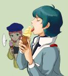 1boy 1girl beret blue_hair closed_eyes crop_top empty_eyes food green_eyes gundam hat holding holding_food ice_cream ice_cream_cone jacket jewelry jumpsuit kamille_bidan licking necklace pink_hair sarah_zabiarov sexually_suggestive short_hair soft_serve tongue tongue_out turtleneck ume-bayashi zeta_gundam