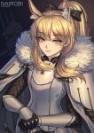 1girl animal_ear_fluff animal_ears arknights armor bangs black_background black_gloves black_ribbon blemishine_(arknights) blonde_hair breastplate commentary_request eyebrows_visible_through_hair fur_trim gloves hair_ribbon highres kingdom_of_kazimierz_logo long_hair looking_at_viewer nairobi_song ribbon simple_background smile solo upper_body vambraces yellow_eyes