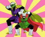 2boys bandana blush boots cape dragon_ball dragon_ball_z facing_viewer gloves great_saiyaman green_shirt green_skin hands_above_head kinjuu_(hariharitt) multicolored multicolored_background multiple_boys open_mouth piccolo pink_background pose purple_shirt shirt son_gohan squatting sunglasses superhero sweatdrop teeth watch watch white_footwear white_gloves yellow_background