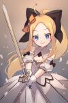 abigail_williams_(fate/grand_order) ahoge artoria_pendragon_(all) bangs black_bow blonde_hair blue_eyes bow breasts cosplay dress fate/grand_order fate/unlimited_codes fate_(series) forehead gloves highres long_hair miya_(miyaruta) multiple_bows orange_bow parted_bangs ponytail saber_lily saber_lily_(cosplay) sidelocks small_breasts smile sword weapon white_dress