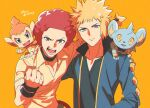 2boys afro arm_around_shoulder black_shirt black_wristband blonde_hair blue_jacket chimchar clenched_hand closed_mouth collarbone commentary_request flint_(pokemon) gen_4_pokemon grey_eyes highres jacket male_focus multiple_boys open_mouth orange_background pokemon pokemon_(creature) pokemon_(game) pokemon_dppt redhead shinx shirt spiky_hair starter_pokemon teeth tongue volkner_(pokemon) wristband xia_(ryugo) yellow_shirt