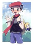 1boy :d backpack bag black_hair blush character_doll clouds commentary_request day flying_sweatdrops foliage grey_eyes hands_up hat highres holding_strap looking_at_viewer lucas_(pokemon) male_focus open_mouth oshi_taberu outdoors pants pokemon pokemon_(game) pokemon_dppt purple_pants red_headwear red_scarf scarf short_sleeves sky smile sweat tongue volkner_(pokemon) yellow_backpack