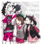 1boy 2girls backpack bag belt black_choker black_hair black_jacket brown_backpack brown_hair buttons cardigan character_name choker closed_eyes collared_dress commentary_request cropped_jacket dress earrings edamameoishii eyeshadow fingernails gloria_(pokemon) gloves green_eyes green_headwear grey_cardigan gym_leader hair_ribbon half-closed_eyes hat holding_hands hooded_cardigan jacket jewelry long_hair long_sleeves makeup marnie_(pokemon) multicolored_hair multiple_girls open_clothes open_mouth parted_lips piers_(pokemon) pink_dress pokemon pokemon_(game) pokemon_swsh ribbon short_hair single_glove smile tam_o'_shanter tongue two-tone_hair white_jacket