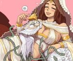 1boy 1girl blush breasts brother_and_sister brown_hair closed_eyes dark_souls dark_sun_gwyndolin emlan giantess large_breasts lips long_hair lying mask midriff on_side pink_background pink_nails pout queen_of_sunlight_gwynevere siblings simple_background size_difference snake souls_(from_software) spoken_squiggle squiggle veil white_hair white_robe