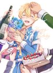 1boy 4others bangs birthday blonde_hair blue_flower blue_rose blush cake closed_eyes commentary_request eugeo flower food fruit hand_on_another's_head happy_birthday holding long_sleeves male_focus military military_uniform multiple_others open_mouth out_of_frame petting rose short_hair shoura simple_background smile solo_focus strawberry sword_art_online sword_art_online:_alicization uniform upper_body upper_teeth white_background