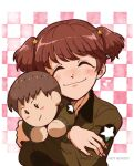 1girl alisa_(girls_und_panzer) aq_sipd blush brown_hair checkered checkered_background closed_eyes closed_mouth girls_und_panzer hair_ornament military military_uniform musical_note naomi_(girls_und_panzer) saunders_military_uniform shiny shiny_hair shiny_skin short_hair simple_background smile star_(symbol) star_hair_ornament stuffed_toy twintails uniform yuri