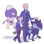 2boys :d black_hair black_shirt blonde_hair blue_eyes blue_jacket commentary_request drifblim gen_4_pokemon hand_in_pocket hat holding_strap jacket long_sleeves looking_at_another lucas_(pokemon) luxray male_focus multiple_boys open_clothes open_jacket open_mouth oshi_taberu pants parted_lips pokemon pokemon_(creature) pokemon_(game) pokemon_dppt pokemon_platinum scarf shirt shoes smile volkner_(pokemon) white_scarf