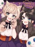 2girls 2others :d ahoge alternate_costume animal_ear_fluff animal_ears bangs black_bow black_hair black_neckwear blonde_hair blue_eyes blush blush_stickers bow bowtie capelet cat_ears character_request claw_pose claws commentary_request corset english_text eyebrows_visible_through_hair fang fangs flat_chest gloves green_eyes grey_capelet grin hair_between_eyes halloween halloween_costume happy_halloween highres hololive imoricohafu indie_virtual_youtuber looking_at_viewer multiple_girls multiple_others neck_ribbon oozora_subaru open_mouth paw_gloves paws pom_pom_(clothes) purple_skirt ribbon shigure_ui_(vtuber) short_hair shoulder-to-shoulder skin_fang skirt smile starry_background symbol_commentary white_skin