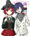 1boy 1girl arm_behind_back artist_name bangs black_hair black_headwear black_jacket breasts checkered checkered_scarf closed_eyes closed_mouth dalrye_v3 danganronpa facing_viewer food gem hair_between_eyes hair_ornament hairclip hand_up hat holding ice_cream ice_cream_cone jacket long_hair long_sleeves looking_at_viewer medium_breasts new_danganronpa_v3 open_mouth ouma_kokichi pants pleated_skirt purple_hair red_eyes red_skirt redhead repost_notice scarf school_uniform shirt short_hair skirt smile straitjacket sweatdrop symbol_commentary translation_request violet_eyes white_pants white_shirt witch_hat yumeno_himiko