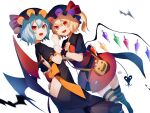 alternate_color ass_cutout back_bow back_cutout bag bat bat_wings black_bow black_dress black_headwear black_shirt blonde_hair blue_hair bow butt_crack candy clothing_cutout commentary cravat crystal dress flandre_scarlet food hair_between_eyes halloween hat hat_ribbon ikasoba jack-o'-lantern_print laevatein_(tail) lollipop macaron mob_cap orange_bow red_ribbon red_skirt red_vest remilia_scarlet ribbon sharp_teeth shirt short_hair short_sleeves shoulder_bag siblings side_ponytail simple_background sisters skirt striped striped_legwear tail teeth thigh-highs touhou vest white_background wings wrapped_candy wrist_cuffs wrist_grab yellow_neckwear