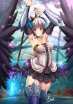 1girl adsouto armor armored_dress bare_shoulders blue_eyes breasts choker crown dress eyebrows_visible_through_hair frown gwendolyn_(odin_sphere) hair_ornament highres holding holding_spear holding_weapon multicolored multicolored_wings odin_sphere polearm short_hair silver_hair spear strapless strapless_dress thigh-highs valkyrie violet_eyes weapon white_hair wings