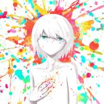 1boy avogado6 blue_eyes clutching_chest colorful looking_at_viewer male_focus no_mouth nude original paint_on_face paint_splatter short_hair solo white_hair white_skin