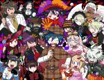 6+boys 6+girls ? ahoge akamatsu_kaede amami_rantarou angel_wings bangs basket bat blush breasts candy chabashira_tenko closed_eyes club_(shape) danganronpa demon_horns demon_wings detective dress everyone facial_mark food furukawa_(yomawari) ghost glasses gloves goggles goggles_on_head gokuhara_gonta habit hair_between_eyes halloween halloween_costume halo hands_together harukawa_maki hat heart highres horns hoshi_ryouma iruma_miu jester_cap keebo labcoat long_hair long_sleeves maid_headdress mask momota_kaito multiple_boys multiple_girls musical_note new_danganronpa_v3 open_mouth ouma_kokichi paw_gloves paw_pose paws pitchfork saihara_shuuichi scythe sharp_teeth shinguuji_korekiyo shirogane_tsumugi sweat teeth toujou_kirumi wings witch_hat yonaga_angie yumeno_himiko