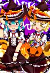 2girls alternate_costume alternate_hairstyle animal_ears bauble black_dress blonde_hair blue_hair blush bow bowtie brown_eyes cat_ears cat_girl cat_tail center_frills commentary_request dress embarrassed extra_ears fang frilled_dress frills hakoneko_(marisa19899200) halloween halloween_basket halloween_costume hat hat_bow highres kemono_friends kemono_friends_3 multiple_girls open_mouth puffy_short_sleeves puffy_sleeves red_neckwear sand_cat_(kemono_friends) shirt short_hair short_sleeves short_twintails sleeve_cuffs snake_tail sweatdrop tail tsuchinoko_(kemono_friends) twintails white_shirt witch_costume witch_hat yellow_eyes