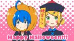 2girls ahoge black_headwear black_shirt blonde_hair blue_eyes blue_hair blush_stickers character_name chinese_hat commentary english_text fangs green_eyes hair_bun halftone halftone_background happy_halloween hat highres jiangshi jiangshi_costume kagamine_rin kinoshita_(k1n0shita) light_smile looking_at_viewer multiple_girls ofuda otomachi_una pink_background pumpkin_hat shirt short_hair tongue tongue_out translated vocaloid