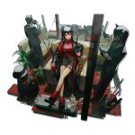 1boy 1girl 2others animal_ears arknights armchair bangs bare_legs black_footwear black_hair blazer chair gloves grey_jacket grey_pants hair_between_eyes highres holding huanxiang_heitu jacket long_hair long_sleeves looking_at_viewer mouth_hold multiple_others necktie off_shoulder official_art pants plant red_eyes red_gloves red_legwear red_shirt shirt shoes sitting socks standing sunglasses tail texas_(arknights) the_emperor_(arknights) thigh_strap transparent_background watch watch white_gloves wolf_ears wolf_tail