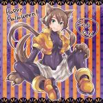 1girl 2019 absurdres adapted_costume aile alternate_color animal_ears bangs blush bodystocking bracelet breasts brown_hair claws dated gloves green_eyes hair_between_eyes happy_halloween highres himurororo jewelry long_hair paws ponytail robot_ears rockman rockman_zx rockman_zx_advent shorts simple_background sitting smile solo spandex wolf_ears wolf_girl wolf_paws