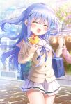 1girl :d ^_^ bag bangs blue_hair blush closed_eyes commentary_request cowboy_shot crepe day eyebrows_visible_through_hair food fruit gochuumon_wa_usagi_desu_ka? hair_between_eyes hair_ornament holding holding_food holding_hands interlocked_fingers kafuu_chino long_hair long_sleeves mozukun43 open_mouth outdoors pleated_skirt road shoulder_bag skirt smile solo_focus strawberry street twitter_username two_side_up x_hair_ornament