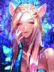 ahri animal_ears asymmetrical_clothes blonde_hair blue_eyes fox_ears hair_ornament hairclip k/da_(league_of_legends) kitsune league_of_legends long_hair makeup nail_polish shiny user_(fppr3275)