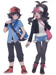 1boy 1girl :d antenna_hair bag baseball_cap black_footwear black_jacket black_legwear black_pants black_wristband blue_eyes blue_jacket boots brown_eyes brown_hair closed_mouth commentary_request denim denim_shorts eyelashes hand_in_pocket hand_up hat highres hilbert_(pokemon) hilda_(pokemon) jacket long_hair open_clothes open_jacket open_mouth oshi_taberu pants pantyhose pokemon pokemon_(game) pokemon_bw shirt shoes short_shorts short_sleeves shorts shoulder_bag sidelocks smile socks standing tongue white_background white_shirt wristband